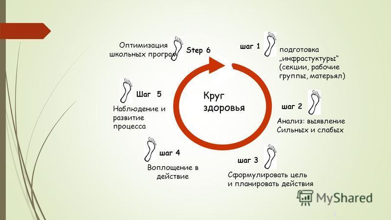 4 шаг 4 Воплощение в действие шаг 3 Сформулировать цель и планировать действия Анализ: выявление Сильных и слабых шаг 2 Шаг 5 Наблюдение и развитие процесса подготовка инфраструктуры (секции, рабочие группы, матерьял) шаг 1 Step 6 Оптимизация школьны