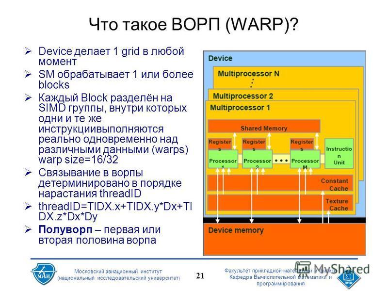 Факультет прикладной математики и физики Кафедра Вычислительной математики и программирования 21 Московский авиационный институт (национальный исследовательский университет ) Что такое ВОРП (WARP)? Device делает 1 grid в любой момент SM обрабатывает