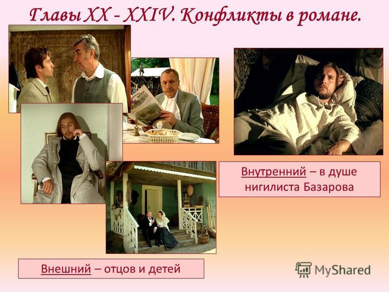 Главы XX - XXIV. Конфликты в романе. Внешний – отцов и детей Внутренний – в душе нигилиста Базарова