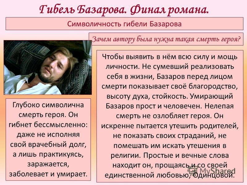 Символичность гибели Базарова Глубоко символична смерть героя. Он гибнет бессмысленно: даже не исполняя свой врачебный долг, а лишь практикуясь, заражается, заболевает и умирает. Чтобы выявить в нём всю силу и мощь личности. Не сумевший реализовать с