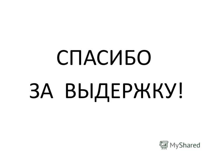 СПАСИБО ЗА ВЫДЕРЖКУ!