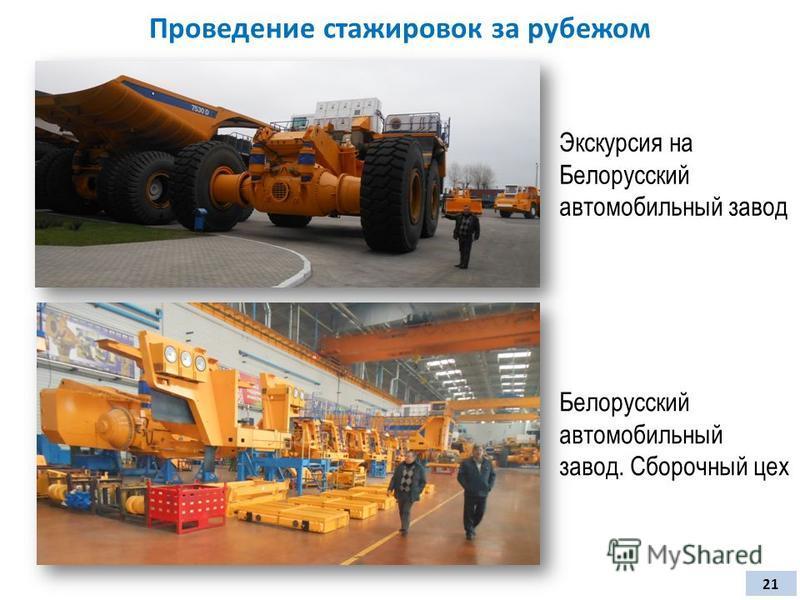 Проведение стажировок за рубежом 21 Экскурсия на Белорусский автомобильный завод Белорусский автомобильный завод. Сборочный цех