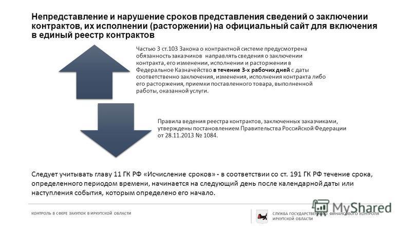 Непредставление и нарушение сроков представления сведений о заключении контрактов, их исполнении (расторжении) на официальный сайт для включения в единый реестр контрактов Частью 3 ст.103 Закона о контрактной системе предусмотрена обязанность заказчи