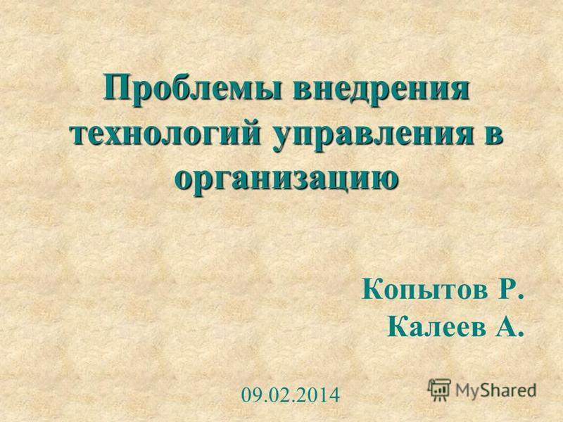 Проблемы внедрения технологий управления в организацию Копытов Р. Калеев А. 09.02.2014