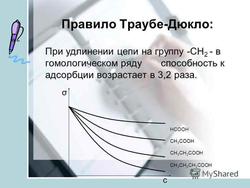 Правило Траубе-Дюкло: При удлинении цепи на группу -СН 2 - в гомологическом ряду способность к адсорбции возрастает в 3,2 раза. НСООН СН 3 СООН СН 3 СН 2 СООН СН 3 СН 2 СН 2 СООН σ с