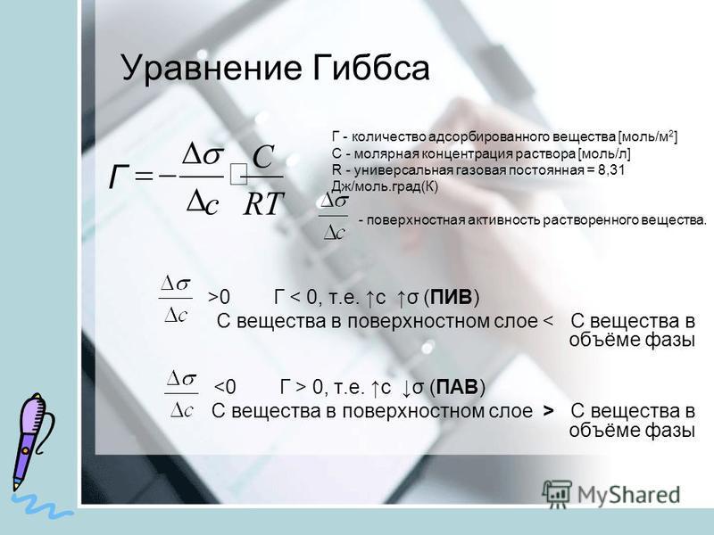 Уравнение Гиббса >0 Г < 0, т.е. с σ (ПИВ) С вещества в поверхностном слое < С вещества в объёме фазы 0, т.е. с σ (ПАВ) С вещества в поверхностном слое > С вещества в объёме фазы Г - количество адсорбированного вещества [моль/м 2 ] С - молярная концен