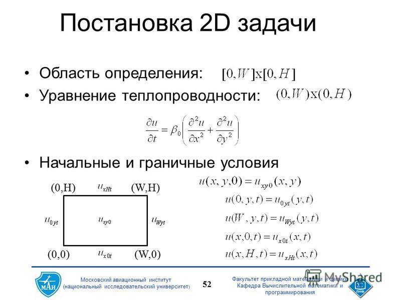 Факультет прикладной математики и физики Кафедра Вычислительной математики и программирования 52 Московский авиационный институт (национальный исследовательский университет ) Постановка 2D задачи Область определения: Уравнение теплопроводности: Начал