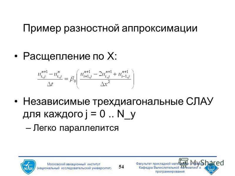 Факультет прикладной математики и физики Кафедра Вычислительной математики и программирования 54 Московский авиационный институт (национальный исследовательский университет ) Пример разностной аппроксимации Расщепление по X: Независимые трехдиагональ