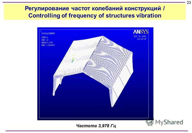 Частота 3,978 Гц 23 Регулирование частот колебаний конструкций / Controlling of frequency of structures vibration