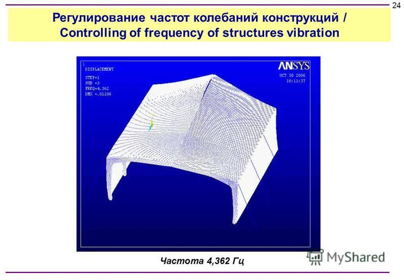 Частота 4,362 Гц 24 Регулирование частот колебаний конструкций / Controlling of frequency of structures vibration