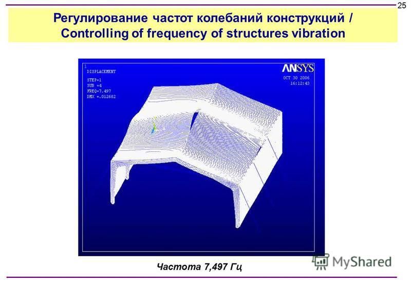 Частота 7,497 Гц 25 Регулирование частот колебаний конструкций / Controlling of frequency of structures vibration