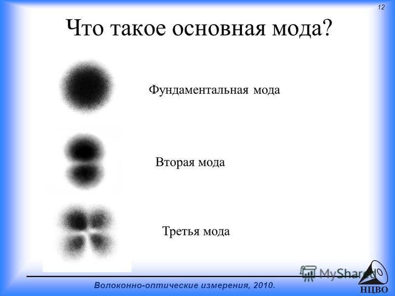 12 Волоконно-оптические измерения, 2010. НЦВО Что такое основная мода? Фундаментальная мода Вторая мода Третья мода