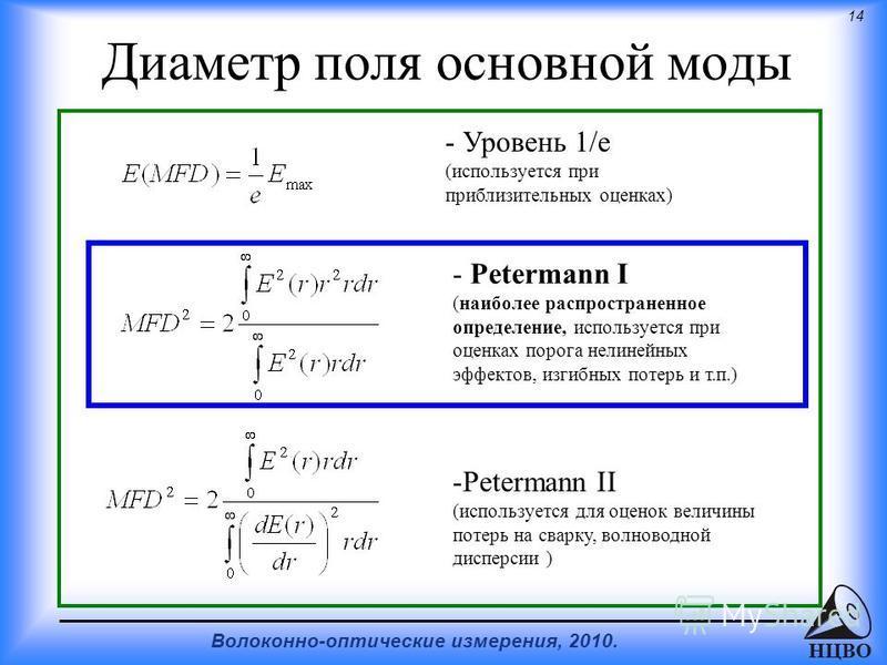14 Волоконно-оптические измерения, 2010. НЦВО Диаметр поля основной моды - Petermann I (наиболее распространенное определение, используется при оценках порога нелинейных эффектов, изгибных потерь и т.п.) -Petermann II (используется для оценок величин