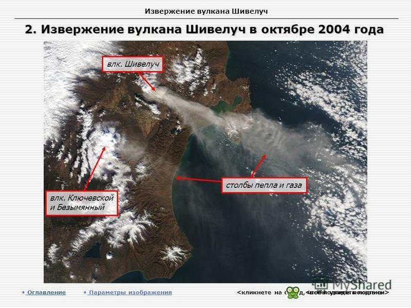 Извержение вулкана Шивелуч 2. Извержение вулкана Шивелуч в октябре 2004 года Оглавление Оглавление Параметры изображения влк. Шивелуч столбы пепла и газа влк. Ключевской и Безымянный