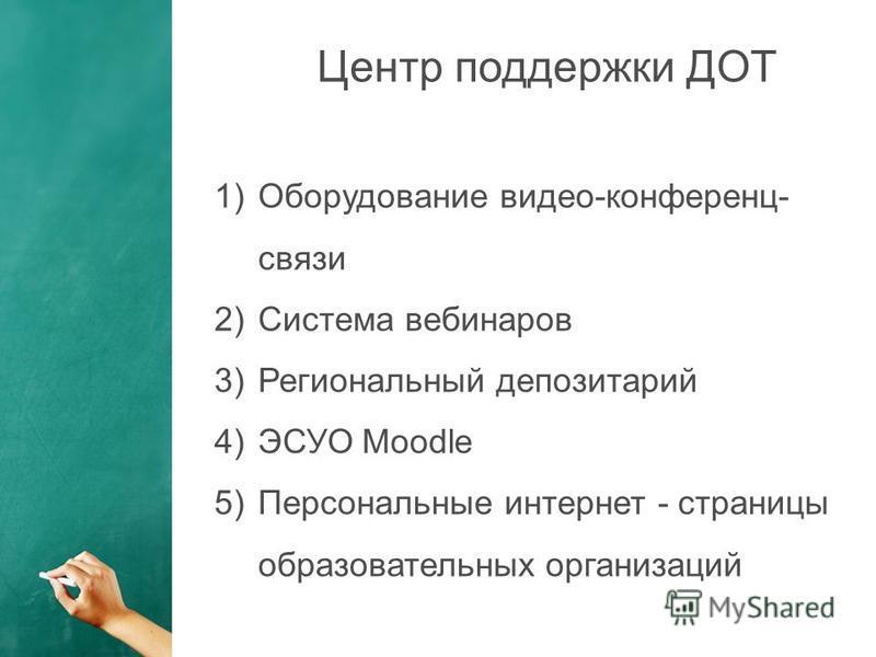 1)Оборудование видеоконференцсвязи 2)Cистема вебинаров 3)Региональный депозитарий 4)ЭСУО Moodle 5)Персональные интернет - страницы образовательных организаций Центр поддержки ДОТ