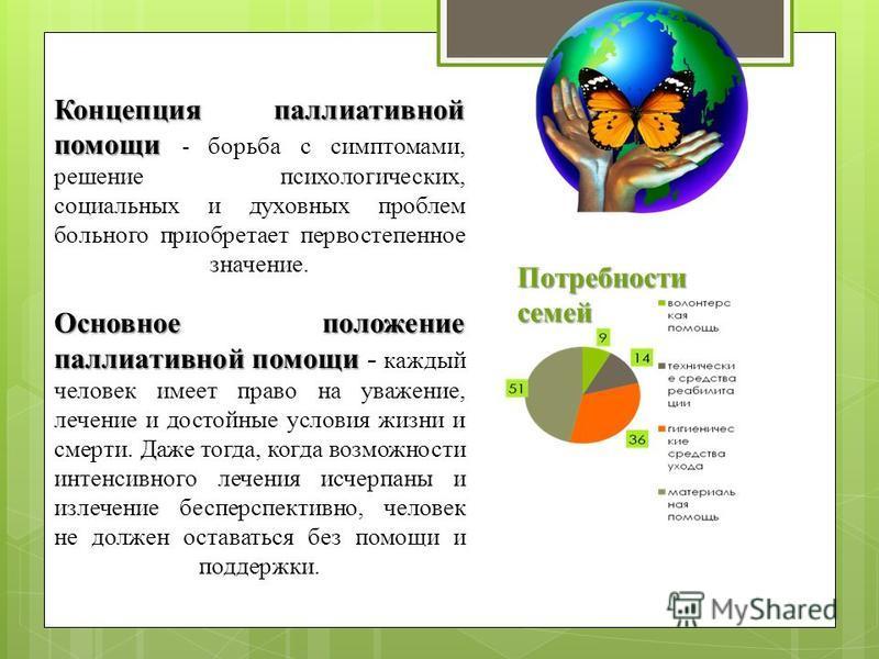 Концепция паллиативной помощи Основное положение паллиативной помощи Концепция паллиативной помощи - борьба с симптомами, решение психологических, социальных и духовных проблем больного приобретает первостепенное значение. Основное положение паллиати