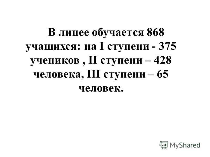 В лицее обучается 868 учащихся: на I ступени - 375 учеников, II ступени – 428 человека, III ступени – 65 человек.