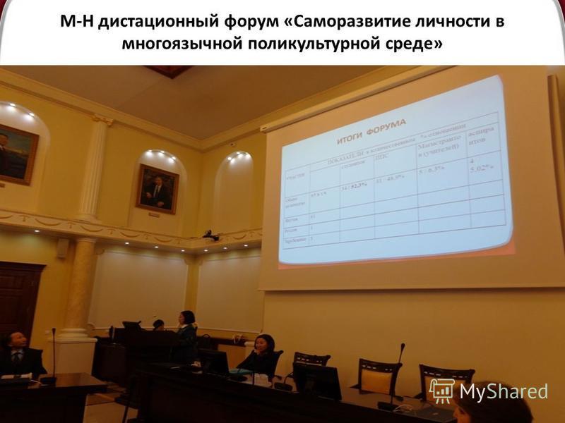 М-Н дистанционный форум «Саморазвитие личности в многоязычной поликультурной среде» :