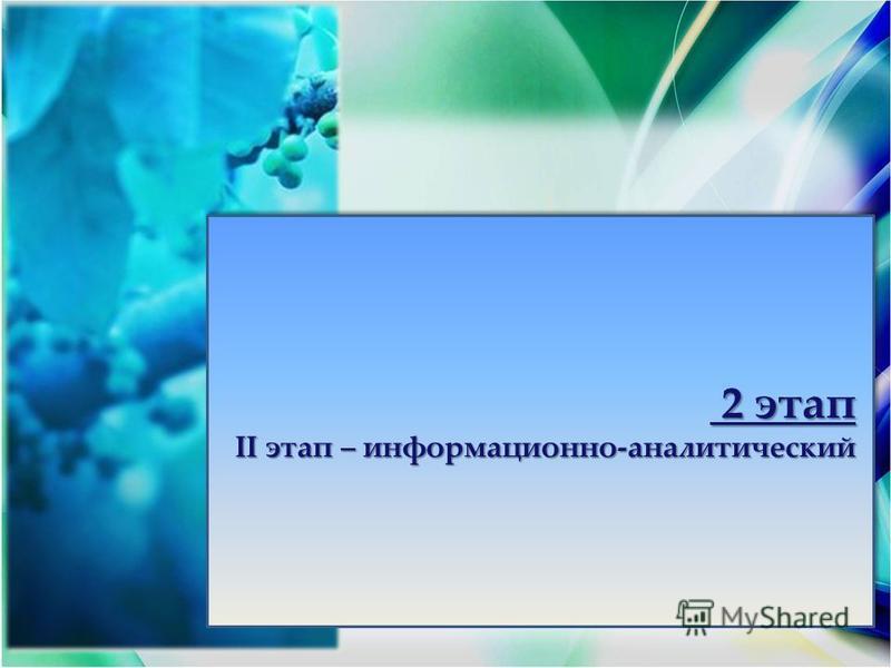 2 этап 2 этап ІІ этап – информационно-аналитический 2 этап 2 этап ІІ этап – информационно-аналитический