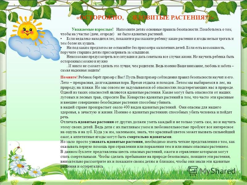 «ОСТОРОЖНО, ЯДОВИТЫЕ РАСТЕНИЯ!!!» Уважаемые взрослые! Напомните детям основные правила безопасности. Позаботьтесь о том, чтобы на участке (даче, огороде) не было ядовитых растений. Если недалеко находится лес, покажите и расскажите ребенку какие раст