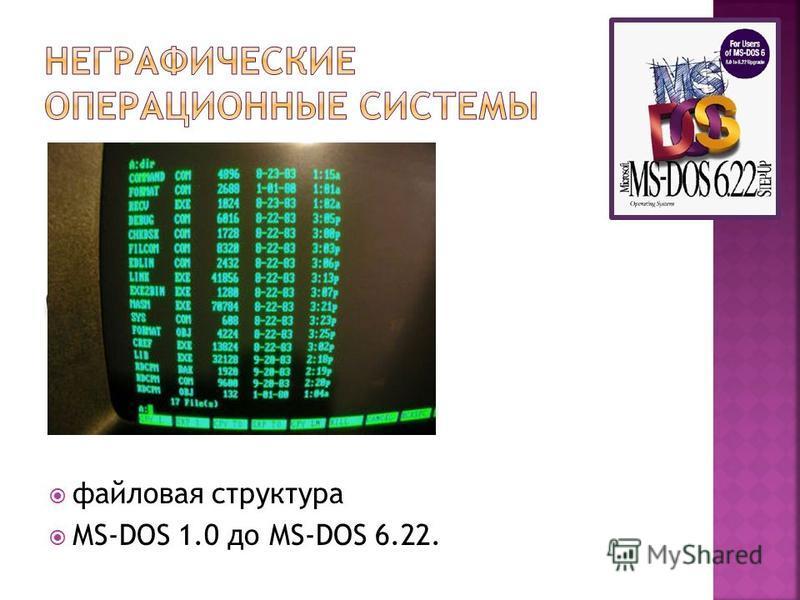 файловая структура МS-DOS 1.0 до МS-DOS 6.22.