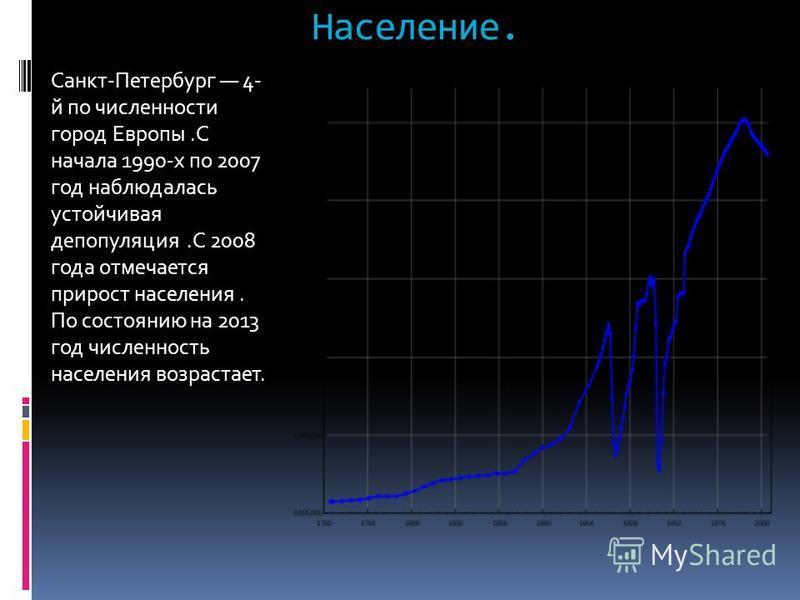 Население. Санкт-Петербург 4- й по численности город Европы.С начала 1990-х по 2007 год наблюдалась устойчивая депопуляция.С 2008 года отмечается прирост населения. По состоянию на 2013 год численность населения возрастает.