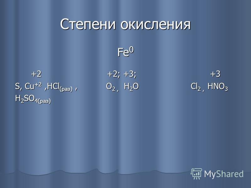 Степени окисления Fe 0 +2 +2; +3; +3 +2 +2; +3; +3 S, Cu +2,HCl (раз), O 2, H 2 O Cl 2, HNO 3 H 2 SO 4(раз)