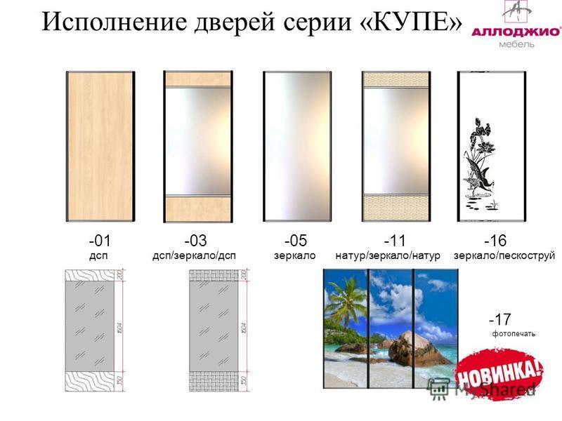 Исполнение дверей серии «КУПЕ» -01 -03 -05 -11 -16 дсп дсп/зеркало/дсп зеркало натур/зеркало/натур зеркало/пескоструй -17 фотопечать