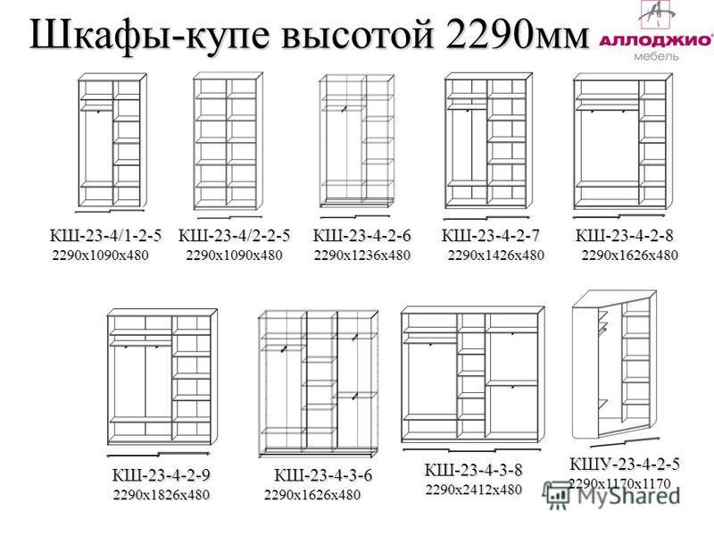 Шкафы-купе высотой 2290 мм КШ-23-4/1-2-5 2290 х 1090 х 4802290 х 1090 х 480 КШ-23-4/2-2-5КШ-23-4-2-6КШ-23-4-2-7КШ-23-4-2-8 2290 х 1236 х 4802290 х 1426 х 4802290 х 1626 х 480 КШ-23-4-2-9 КШ-23-4-3-8 КШУ-23-4-2-5 2290 х 1826 х 4802290 х 1626 х 480 229