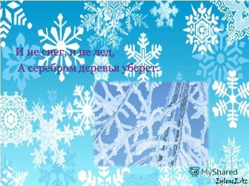 И не снег, и не лед, А серебром деревья уберет. А серебром деревья уберет.