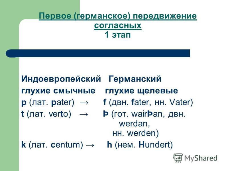 Первое (германское) передвижение согласных 1 этап Индоевропейский Германский глухие смычные глухие щелевые p (лат. pater) f (две. fater, н. Vater) t (лат. verto) Þ (гот. wairÞan, две. werdan, н. werden) k (лат. centum) h (нем. Hundert)