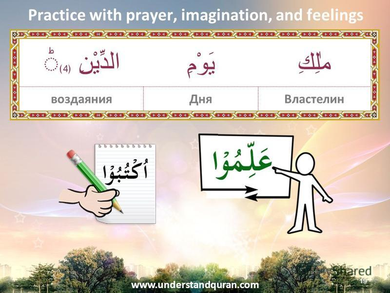 www.understandquran.com Practice with prayer, imagination, and feelings 19 مٰلِكِيَوْمِ الدِّيْنِ 4 Властелин Днявоздаяния