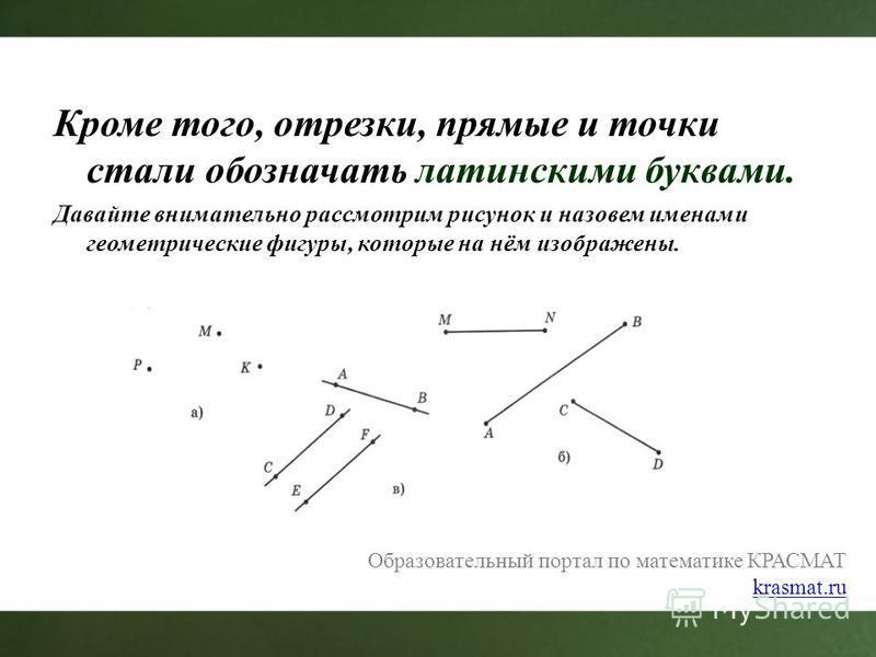 Кроме того, отрезки, прямые и точки стали обозначать латинскими буквами. Давайте внимательно рассмотрим рисунок и назовем именами геометрические фигуры, которые на нём изображены. Образовательный портал по математике КРАСМАТ krasmat.ru