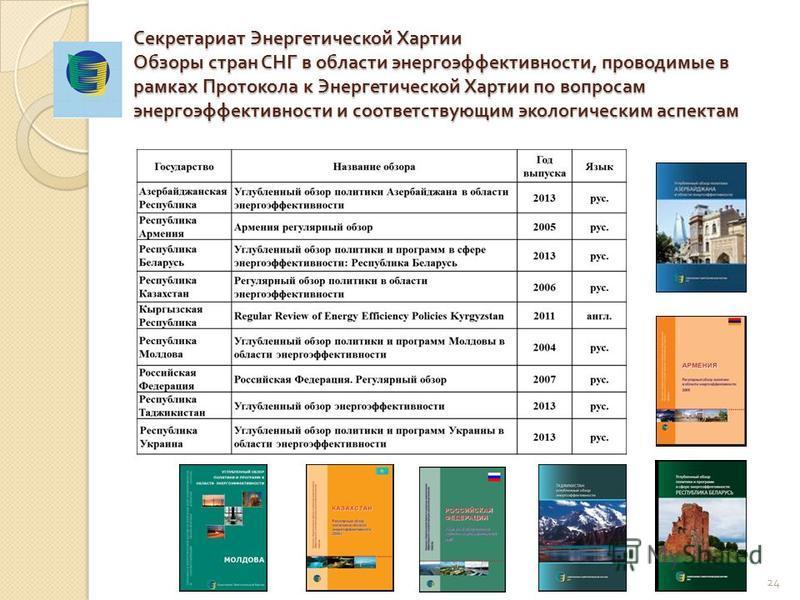 Секретариат Энергетической Хартии Обзоры стран СНГ в области энергоэффективности, проводимые в рамках Протокола к Энергетической Хартии по вопросам энергоэффективности и соответствующим экологическим аспектам 24