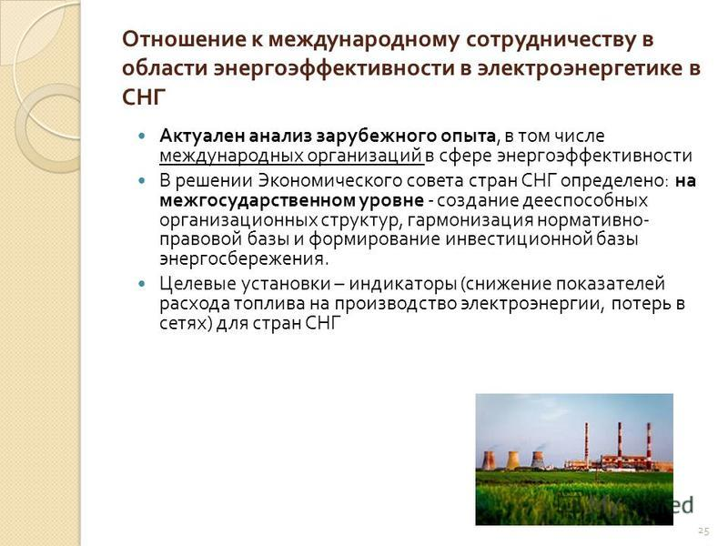 Отношение к международному сотрудничеству в области энергоэффективности в электроэнергетике в СНГ Актуален анализ зарубежного опыта, в том числе международных организаций в сфере энергоэффективности В решении Экономического совета стран СНГ определен
