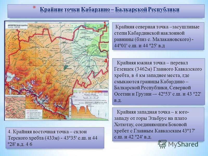 Крайняя северная точка –засушливые степи Кабардинской наклонной равнины (близ с. Малакановского) - 44º01' с.ш. и 44 º25' в.д Крайняя южная точка – перевал Гезевцек (3462 м) Главного Кавказского хребта, в 4 км западнее места, где смыкаются границы Каб