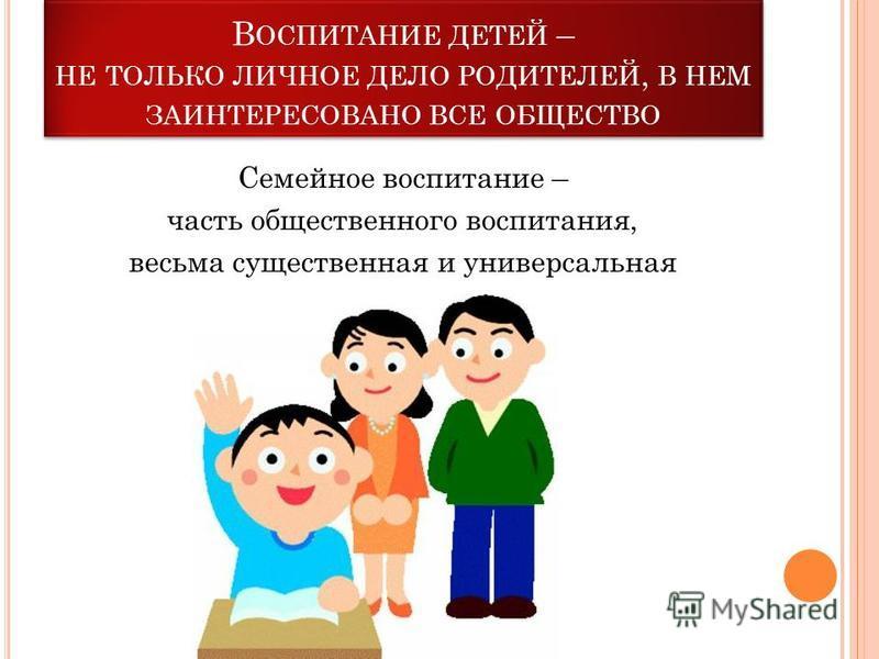 В ОСПИТАНИЕ ДЕТЕЙ – НЕ ТОЛЬКО ЛИЧНОЕ ДЕЛО РОДИТЕЛЕЙ, В НЕМ ЗАИНТЕРЕСОВАНО ВСЕ ОБЩЕСТВО Семейное воспитание – часть общественного воспитания, весьма существенная и универсальная