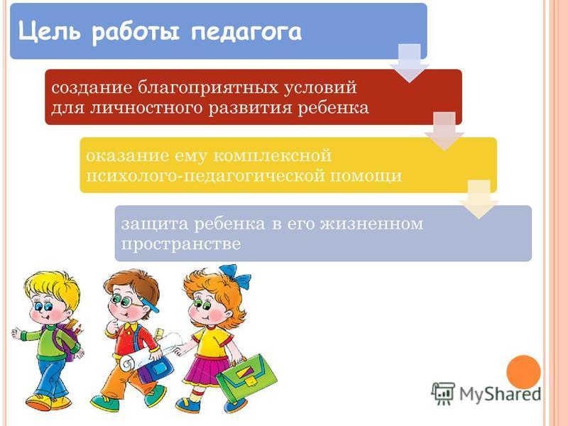 Цель работы педагога создание благоприятных условий для личностного развития ребенка оказание ему комплексной психолого-педагогической помощи защита ребенка в его жизненном пространстве