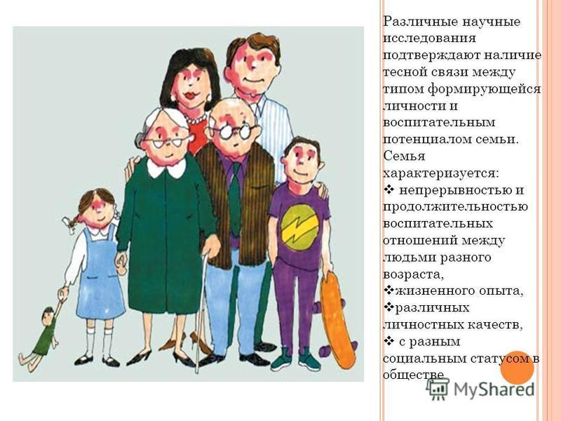 . Различные научные исследования подтверждают наличие тесной связи между типом формирующейся личности и воспитательным потенциалом семьи. Семья характеризуется: непрерывностью и продолжительностью воспитательных отношений между людьми разного возраст