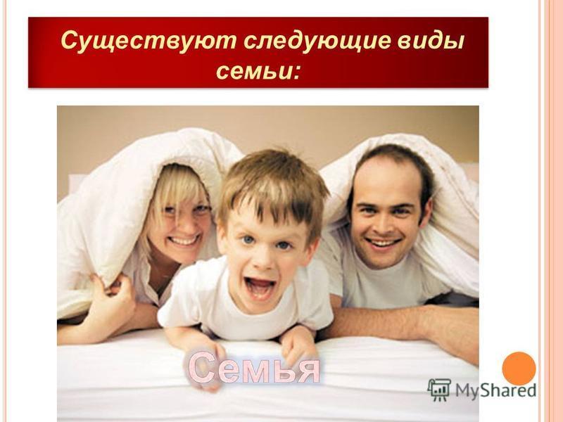 Существуют следующие виды семьи: