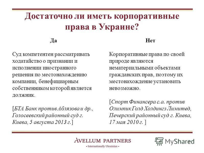 Достаточно ли иметь корпоративные права в Украине? Нет Корпоративные права по своей природе являются нематериальными объектами гражданских прав, поэтому их местонахождение установить невозможно. [Спорт Финансера с.а. против Олимпик Голд Холдингз Лими