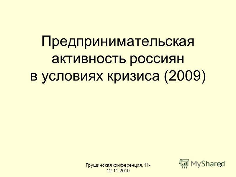 Грушинская конференция, 11- 12.11.2010 15 Предпринимательская активность россиян в условиях кризиса (2009)