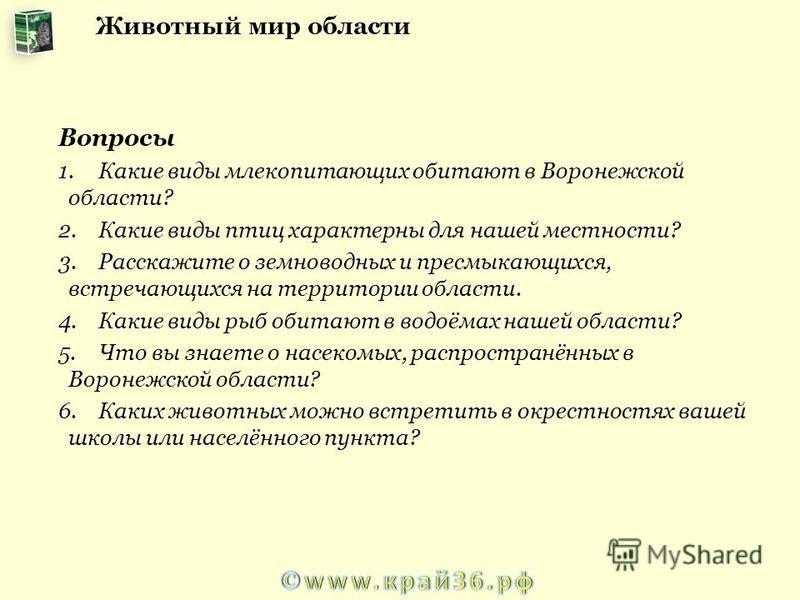 Вопросы 1. Какие виды млекопитающих обитают в Воронежской области? 2. Какие виды птиц характерны для нашей местности? 3. Расскажите о земноводных и пресмыкающихся, встречающихся на территории области. 4. Какие виды рыб обитают в водоёмах нашей област