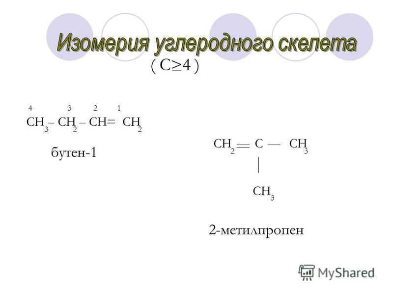 ( С>4 ) СН СН СН= СН 3 2 2 4 3 2 1 бутен-1 СН С СН СН 2 3 3 2-метилпропен