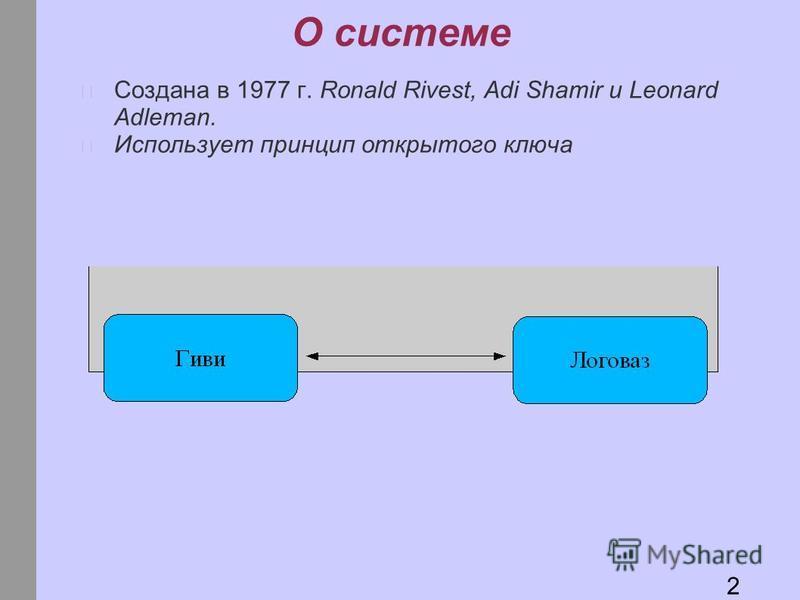 О системе Создана в 1977 г. Ronald Rivest, Adi Shamir и Leonard Adleman. Использует принцип открытого ключа 2