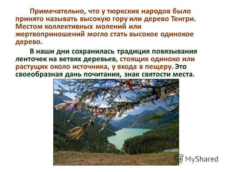 Примечательно, что у тюркских народов было принято называть высокую гору или дерево Тенгри. Местом коллективных молений или жертвоприношений могло стать высокое одинокое дерево. В наши дни сохранилась традиция повязывания ленточек на ветвях деревьев,