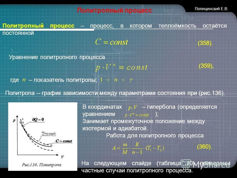 www.themegallery.com Политропный процесс Политропный процесс – процесс, в котором теплоёмкость остаётся постоянной (358). Уравнение политропного процесса (359), где – показатель политропы;. Политропа – график зависимости между параметрами состояния п