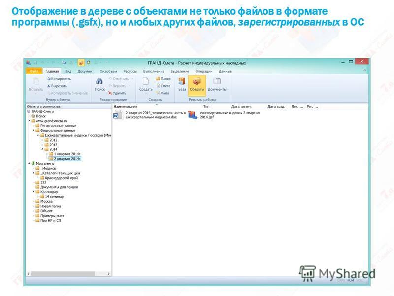 Отображение в дереве с объектами не только файлов в формате программы (.gsfx), но и любых других файлов, зарегистрированных в ОС