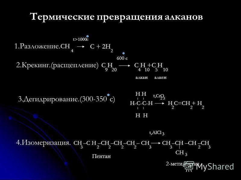 Термические превращения алканов 1.Разложение. СH C + 2H 4 2 t>1000c 2.Крекинг.(расщепление) C H C H +C H 9 20 4 10 5 10 600 c алкан алкен 3.Дегидрирование.(300-350 с) H-C-C-H H H H C=CH + H 2 2 2 t,CrO 2 3 4.Изомеризация. CH –C H –CH –CH –CH – CH CH