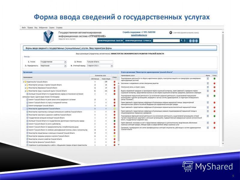 Форма ввода сведений о государственных услугах 9